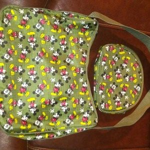 Mickey mouse purse and cosmetic bag